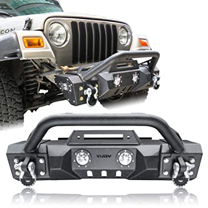 Jeep Wrangler Fog Lights >> Vijay Texture Black Front Bumper With Two Fog Lights For 87 06 Jeep Wrangler Tj Yj