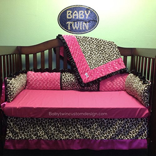 (Crib Set 4pc/ Nursery Bedding/Hot Pink/Leopard)