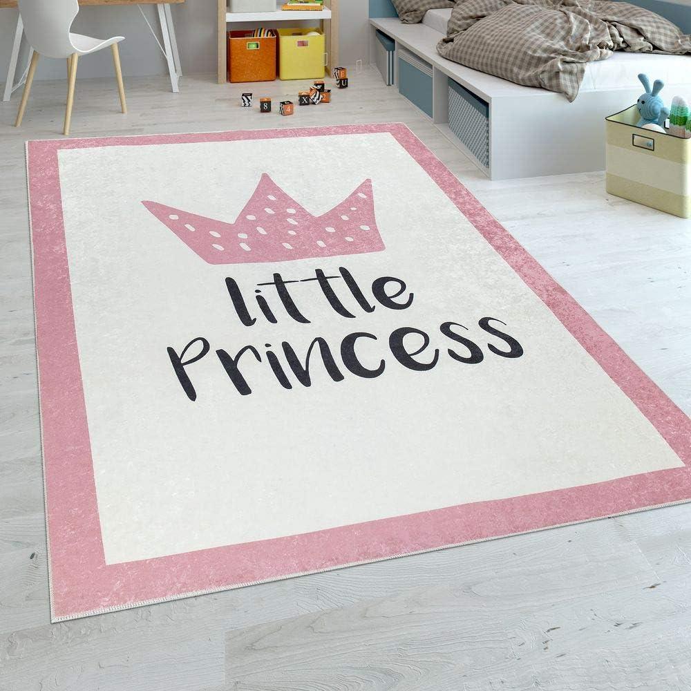 Paco Home Alfombra Habitación Infantil Niña Bebé Lavable Princesa Frase Rosa, tamaño:120x160 cm