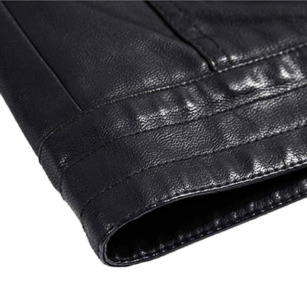 Colmkley Mens Warm Leather Jacket Long Sleeve Jacket Adults Size M-3XL