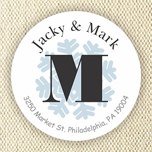 Monogram Snowflake labels - Personalized Address Labels - Winter favor stickers - Envelopes Stickers - Set of 40 2