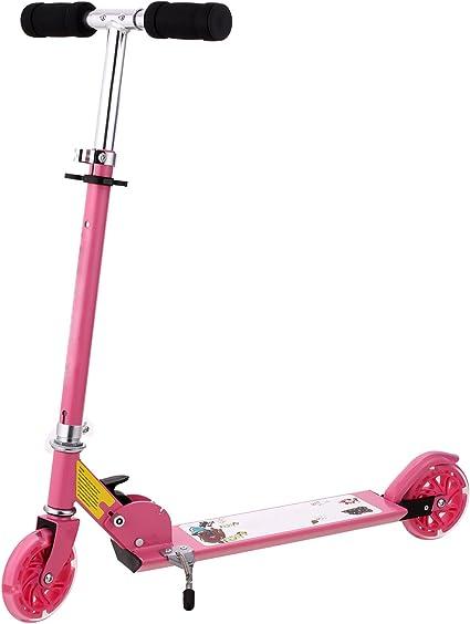 Scooter Kick kids light DEL Grande Roue Filles Rose Pliable Hauteur réglable