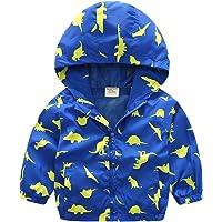 lymanchi Kids Baby Boy Casual Windbreaker Outerwear Dinosaur Printed Zipper Hooded Jackets Coat