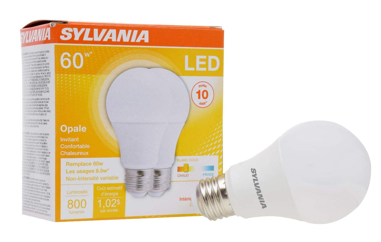 SYLVANIA, 60W Equivalent, LED Light Bulb, A19 Lamp, 2 Pack, Soft White, Energy Saving & Longer Life, Medium Base, Efficient 8.5W, 2700K