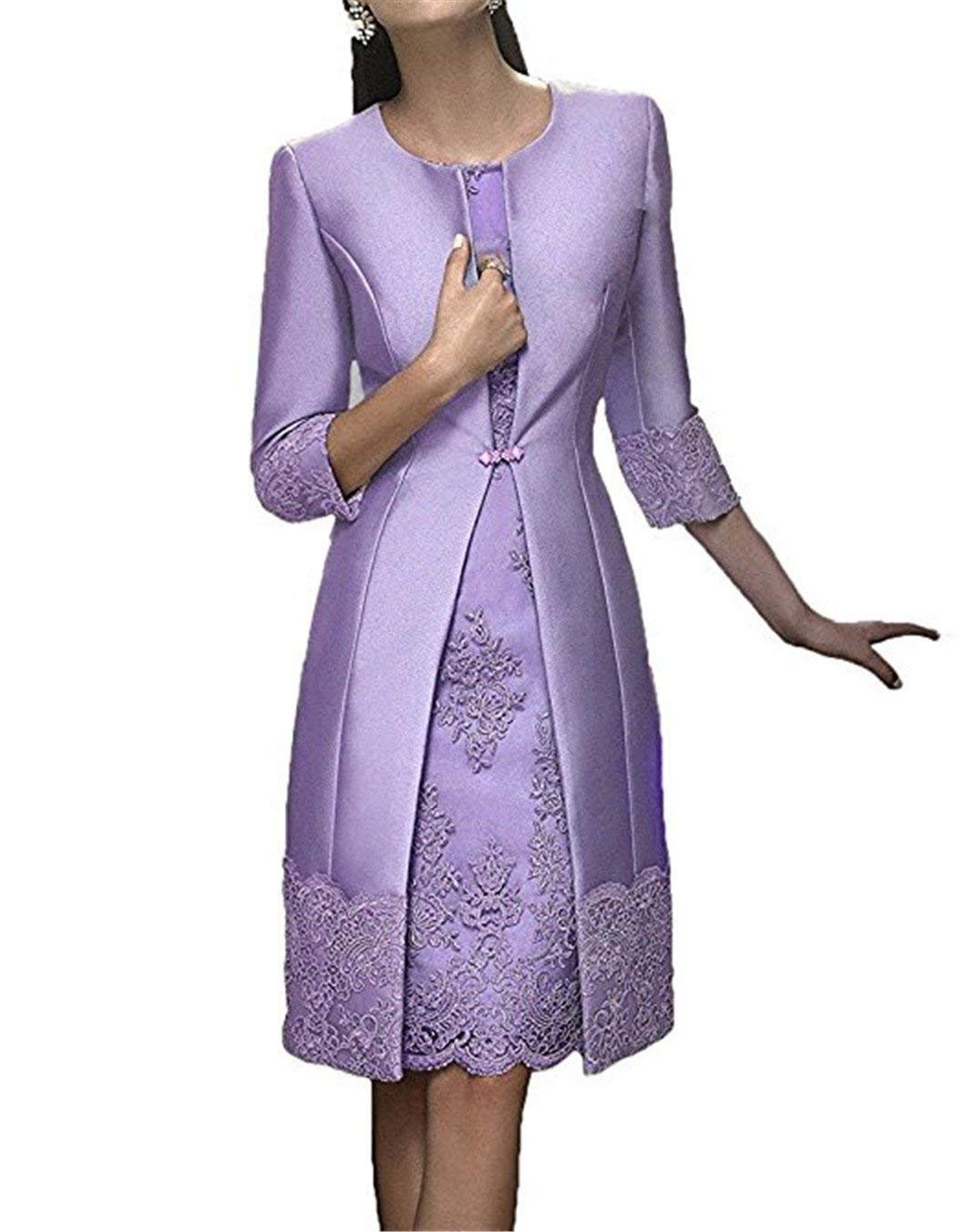 cf23f338a2bc8a JINGDRESS Tea Length Mother of The Bride Dresses with Jackets Two Piece for  Women Lavender