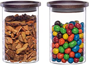 Essos Glass Jars with Wood Lids Set of (2) 32 fl oz Airtight and Stackable Storage Containers for the Kitchen or Pantry Canister Wooden Lid holds Food Cookies Coffee Pasta