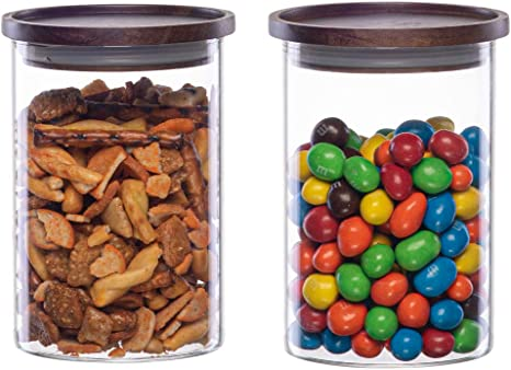Clear Glass Jar With Wooden Lid Candy Jar Storage Food Container Airtight