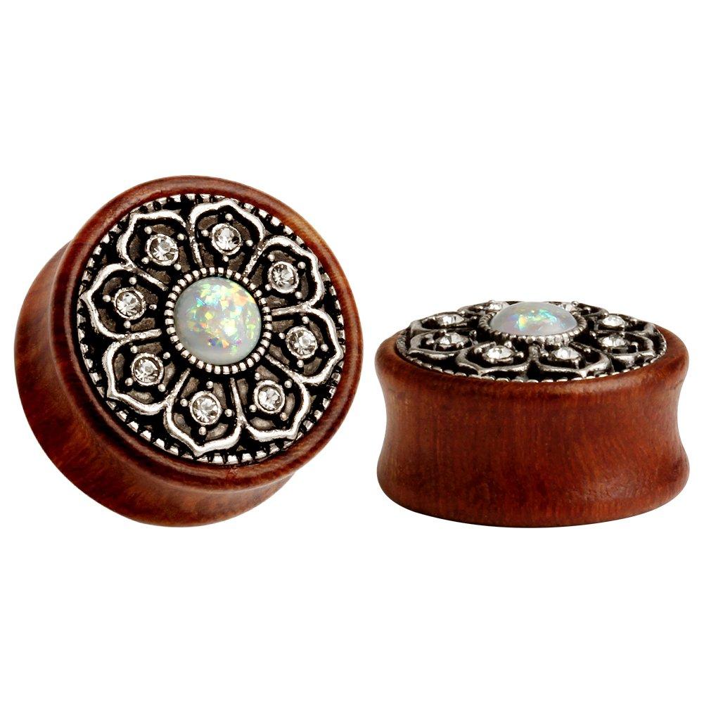 KUBOOZ(1 Pair Vintage Wood Opal Center Flower Ear Plugs Tunnels Gauges Stretcher Piercings by KUBOOZ