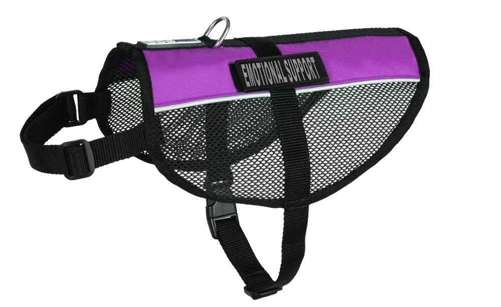 Dogline MaxAire Multi-Purpose Mesh Vest for Dogs and 2 Removable Emotional Support Patches, Small, Purple
