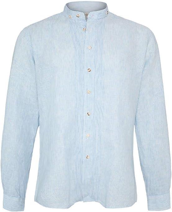 Almsach Herren Trachten-Mode Trachtenhemd Vinz Slim Fit in Blau traditionell
