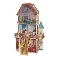 KidKraft Disney Princess Belle Enchanted Wooden Dollhouse, Almost Four Feet Tall, with Balconies, Staircase and 13 Accessories ,Gift for Ages 3+