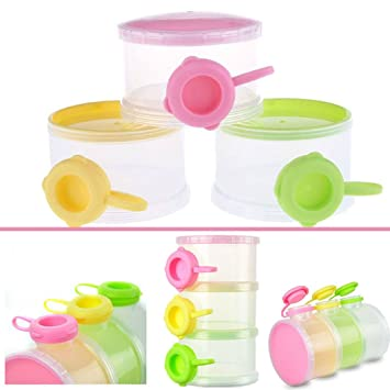 Dearmy Portable Leche Polvos Fórmula Dispensador Comida Envase Almacenamiento Alimentación Caja para Bebé Niños Niñito Tres Cuadrícula Bebé Comida ...