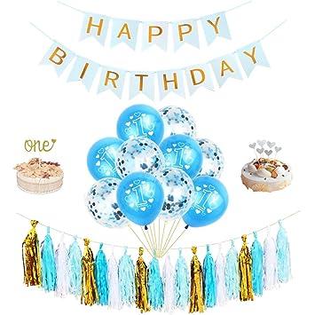 Amycute 50 pcs Decoración Cumpleaño de 1 año, Happy Birthday ...