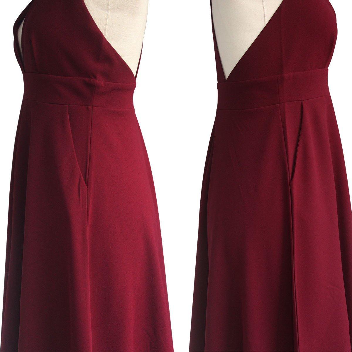 Summer Women's A-Line Sleeveless Deep V-Neck MIDI Dress (M, Burgandy) by YOOHOG (Image #8)