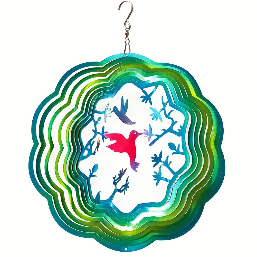 FONMY Wind Spinner Stainless Steel 3D Hanging Garden Decoration for Indoor Outdoor Gradient Blue Color Twins Hummingbird Metal Wind Spinners-12inch by FONMY
