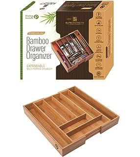 Premium, Extra Deep, Non-slip, Large Silverware Organizer| Expandable Bamboo