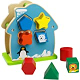 ACOOLTOY Legno Forma Intelligenza Casa Animale Geometria Sorter Building Blocks Box Giocattoli Educativi per i Bambini 3 Anni +