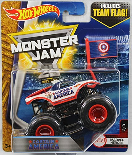 Hot Wheels 2017 Monster Jam 1:64 Scale Truck with Team Flag - Captain America