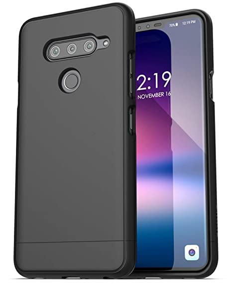 sale retailer b053c db71e Encased LG V40 ThinQ Phone Case Black (Slimshield) Ultra Slim Fit Grip  Cover (2018) Thin Armor Shell