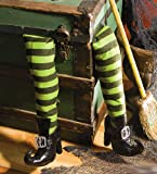 Deluxe Plush Witch Legs Green and Black with Shoes Great Halloween Decor
