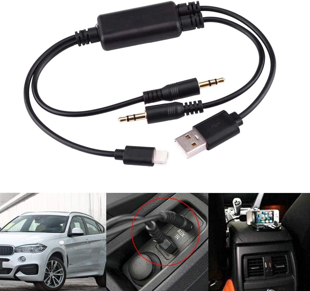 Car Adapter Cable Car USB 3.5MM AUX Adapter Interface Cable Fit for 1 Series 3 Series Saloon from 03//2005 3 Series Touring from 09//2005 3 Series Coupe from 09//2006