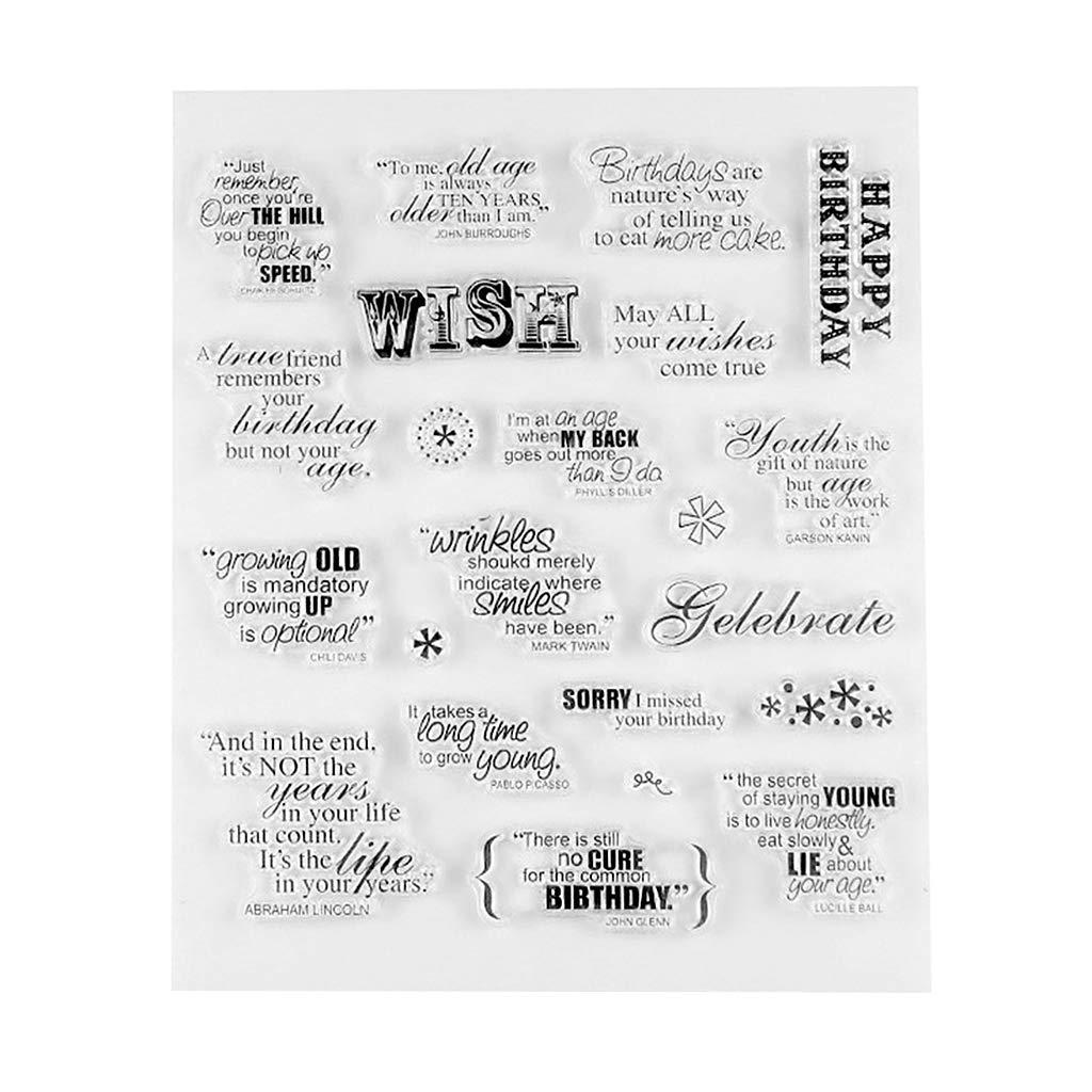 Eliky Cr/éatif DIY Anglais Lettre avec Motif de Texte Transparent Joint Scrapbooking Album Photo Carte Tampon D/écoratif Feuilles