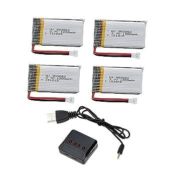 Creation® 4pcs 3.7V 1200mAh Lipo Baterías y 4 en 1 cargador para ...
