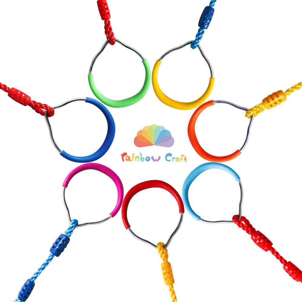 Rainbow Craft Swing Bar Rings-Colorful Outdoor Backyard Gymnastic Rings & Locking Carabiners - 7 pcs Pack