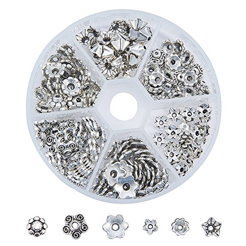Pandahall 1 Box Assorted 6 Different Shape Tibetan Style Alloy Flower Bead Caps for Jewelry Making, Antique Silver