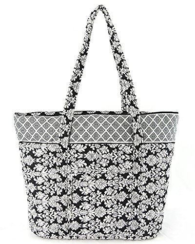 Large Quilted Tote Bag (Quilted Large Tote Overnighter Bag (Black/)