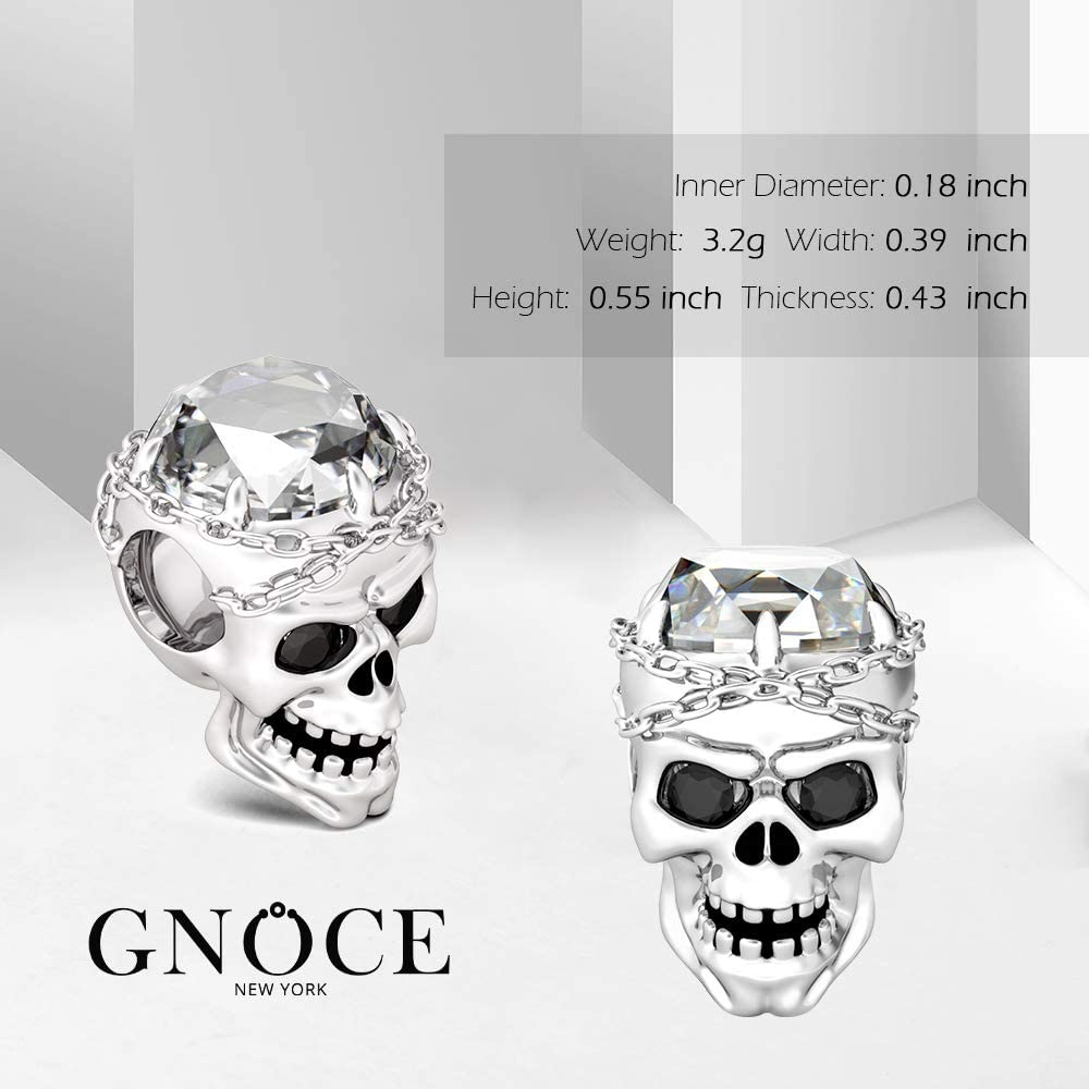 Gnoce Charm Set de Cr/âne Breloque en Argent Sterling 925Retiens Mon C/œur Charm Bead Compatible avec Bracelets et Colliers Cadeau pour Femme Homme