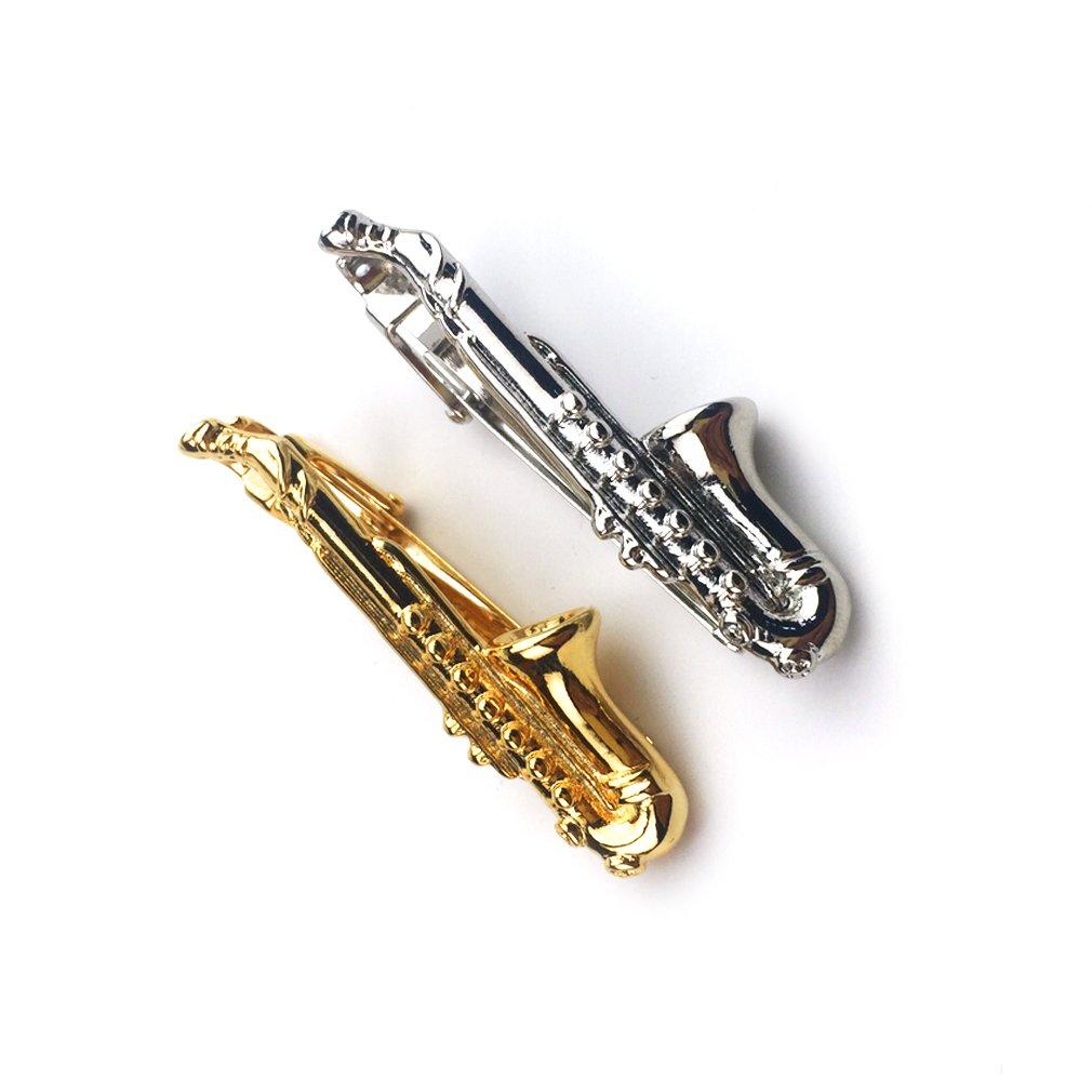 ZUNON Saxophone Tie Clips Sax Tie Bar Tacks Mens Silver Golden Tone Music instrument Tie Clasps Musician Gifts