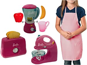 Kids Kitchen Appliance Pretend Play Set Bundle Includes Barbie Mixer, Blender and Toaster Playset Plus Pink Apron (4 Items Total)