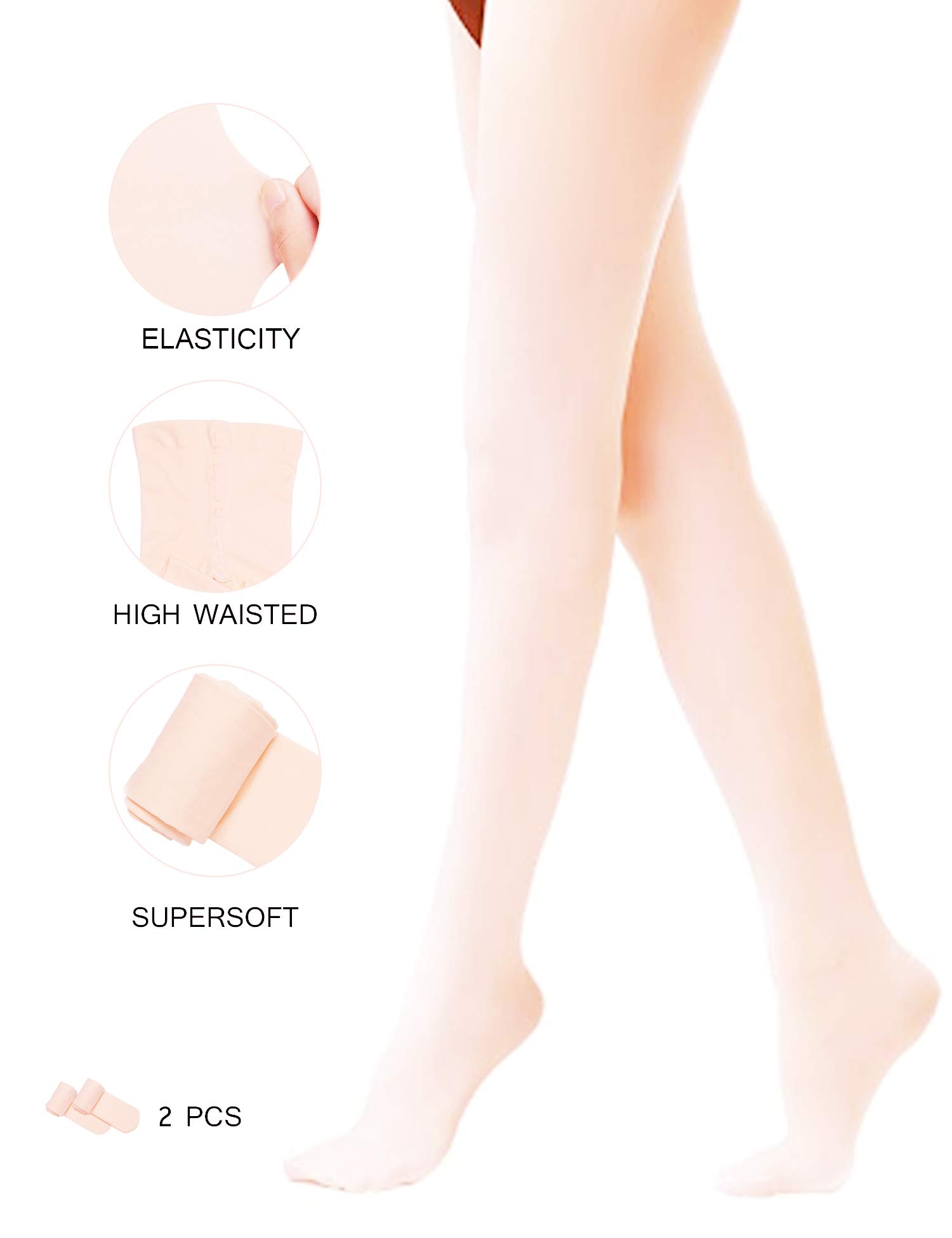 Arshiner Girls' Ultra Soft Dance Tight/Ballet Footed Tight (Toddler/Little Kid/Big Kid) Pink 140