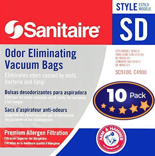 Sanitaire SD Odor Eliminating Vacuum Bags - 10 Bags. Professional Quality Filters with Arm & Hammer Baking Soda for Allergen and Odor Filtration. Model 63262 Fits SC9100, S9120, SC9150, SC9180, C4900. (Sanitaire Pro)