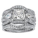 Princess-Cut White Cubic Zirconia Platinum over .925 Silver 3-Piece Highway Bridal Ring Set
