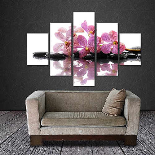 [LARGE] Premium Quality Canvas Printed Wall Art Poster 5 Pieces / 5 Pannel Wall Decor Purple Orchid Painting, Home Decor Pictures - With Wooden Frame (Peacock Orchid)