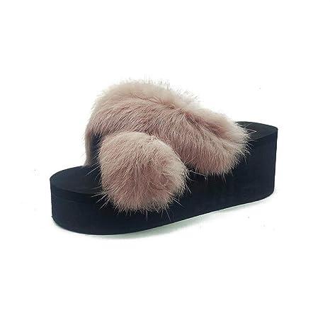DANDANJIE Zapatillas para Mujer Zapatillas De Imitación De Felpa con Tacón De Cuña Y Chanclas con