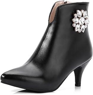 Women's Rhinestone Dressy Pointed Toe Inside Zip Up Ankle Boots Stiletto Kitten Heels Booties With Zipper
