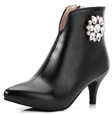 1146ccaf5b Aisun Women's Rhinestone Dressy Pointed Toe Inside Zip Up Ankle Boots  Stiletto Kitten Heels Booties with