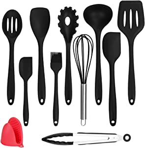 Freehawk 11-Piece Silicone Kitchen Utensils Cooking Set, One Piece Design Seamless Spatula, Heat-Resistant Spatulas/Spoons/Brush/Tong/Whisk for Baking/Cooking/Mixing