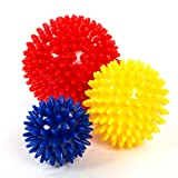 Meglio Pack of 3 Spiky Massage Ball – Perfect for Stress Reflexology & Trigger Point Massage - 6cm, 8cm, 10cm - Free Exercise Guide Included