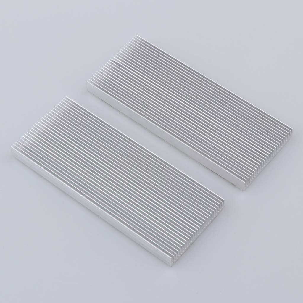 2X Aluminum CPU Heat Sink Cooling Fin Cooler Fan Radiator Pad Kit 100x41x8mm