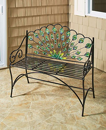 The Lakeside Collection Peacock Bench - Decorative Seating for Lawns and Gardens (Peacock Garden)