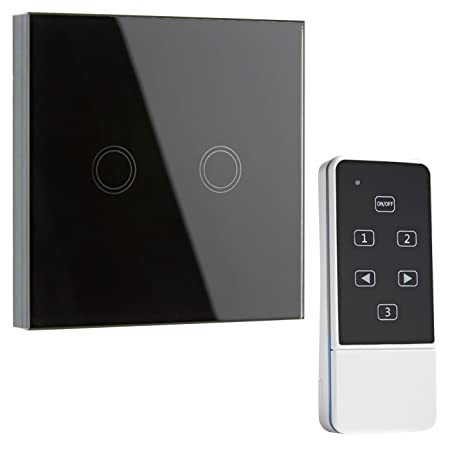 Biard Led 2 Gang Remote Controlled Wall Crystal Glass Touch Switch