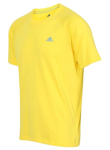 T Rond Jaune Homme Shirt À Col Moyen Climalite Adidas Coton qI8xF