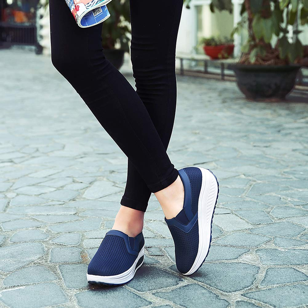 L LOUBIT Women Wedge Shoes Breathable Mesh Sneakers Slip On Comfort Walking Shoes