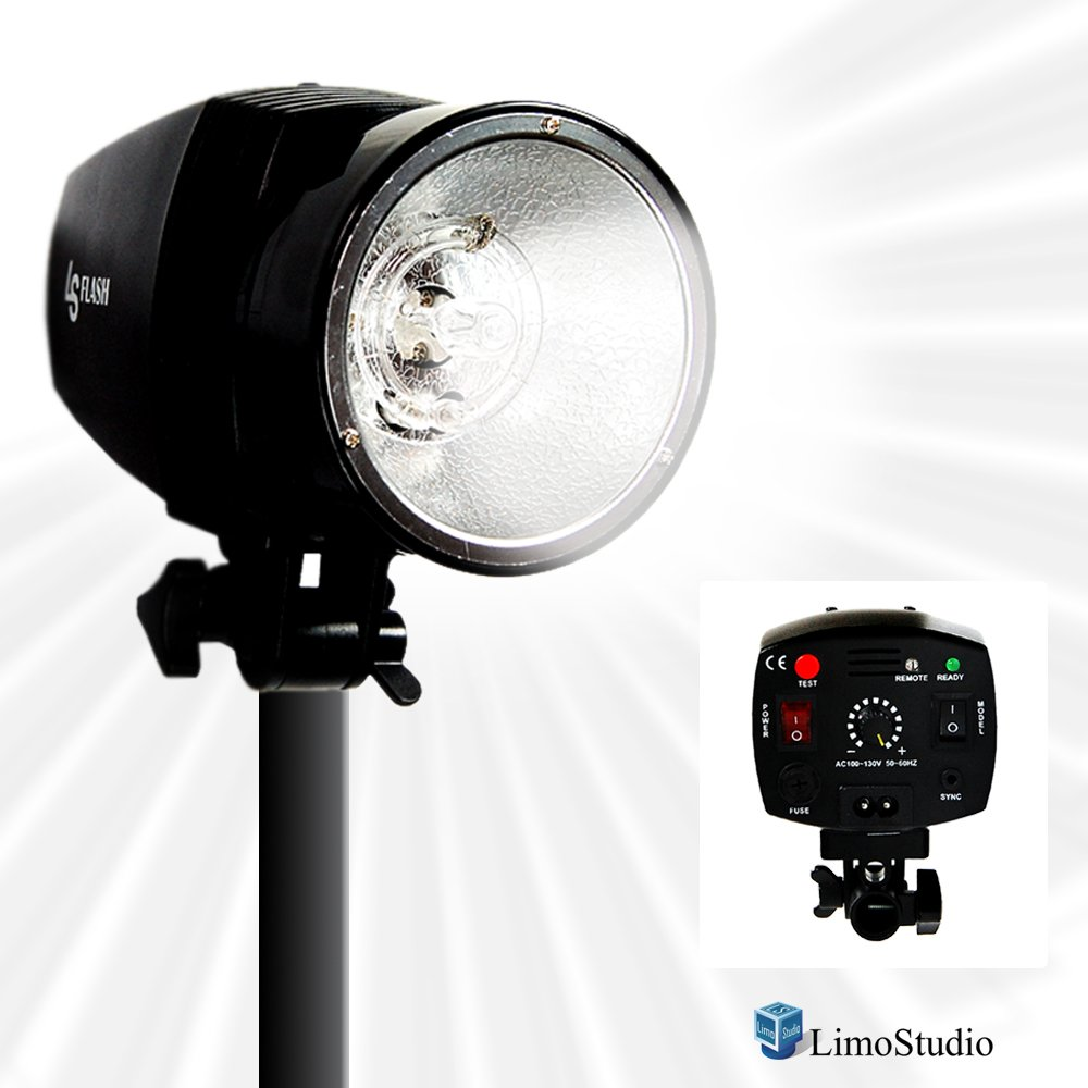LimoStudio Flash Strobe Light, 150WS Output, 5600K Temperature, Sync Cord / Test Button / Slave, Fuse and Sync Cable Included, Umbrella Input, Mount on Light Stand, Photo Studio, AGG1992
