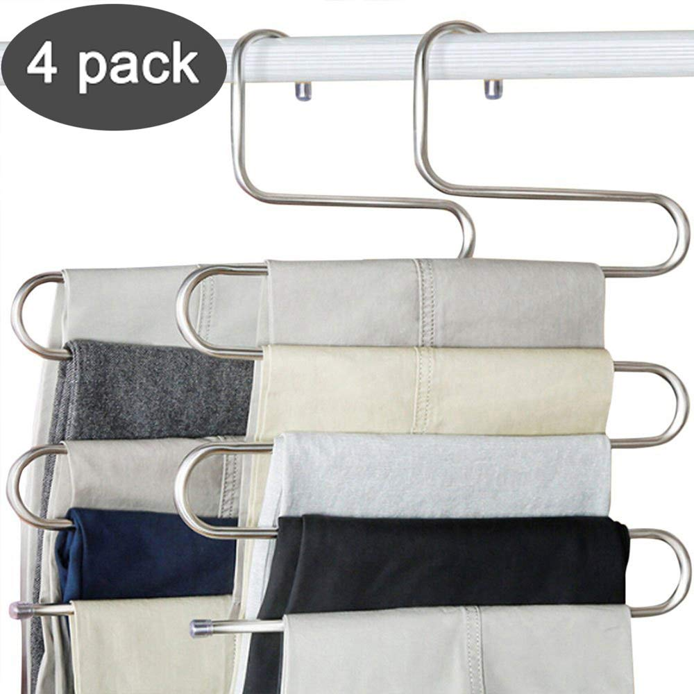 devesanter Pants Hangers S-Shape Trousers Hangers Stainless Steel Clothes Hangers Closet Space Saving for Pants Jeans Scarf Hanging Silver (4 Pack with 10 Clips) by devesanter