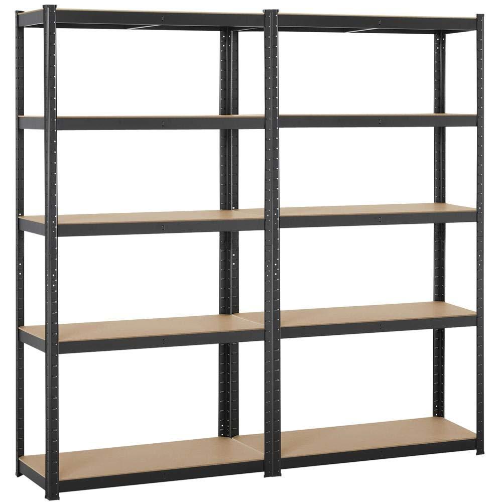 Topeakmart Adjustable 5-Shelf Garage Shelves Metal Storage Rack Shelving Unit Display Rack 71in Height, 2 Packs by Topeakmart